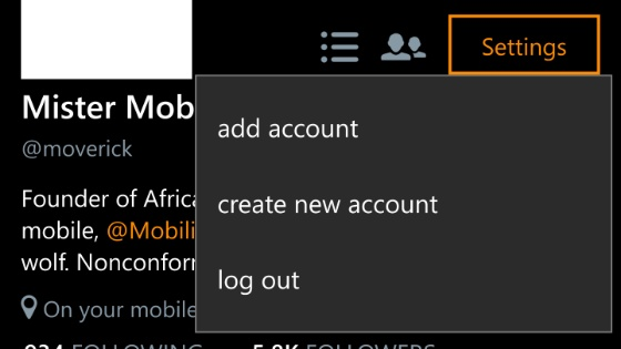 Logout from twitter for windows 10 mobile